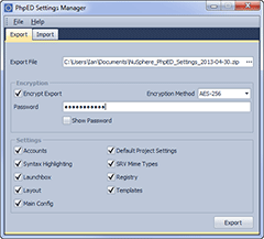 PhpED Settings Manager screenshot